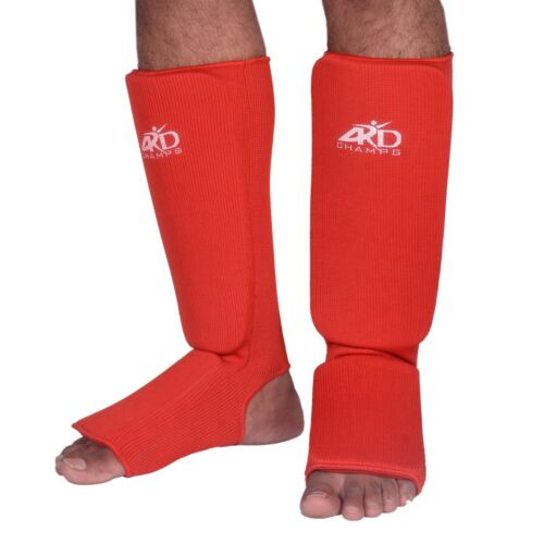 Guards Pads Boxing ARD CHAMPS™ Shin Instep Protectors MMA Muay Thai RED