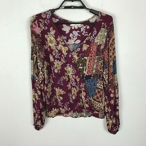 Umgee-Blouse-Womens-Size-M-Multicolor-Long-Sleeve-Rayon-Floral-Boho-Top-Shirt