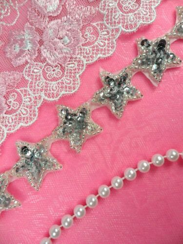 "XR359-sl Star Trim Silver Sequin Beaded Iron On 1/"" Banding Petite DIY Dance"