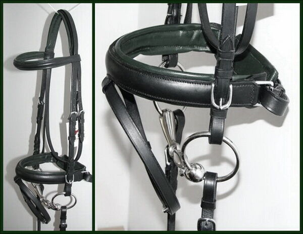 FSS German DARK HUNTER BOTTLE GREEN Comfort Padded Poll Crank Dressage BRIDLE