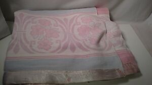 VINTAGE heavy reversible BLANKET pastel blue & pink other SATIN EDGE