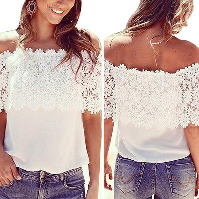 Summer Fashion Women's Sleeveless Casual Tops Blouse Lace Floral Chiffon T-Shirt