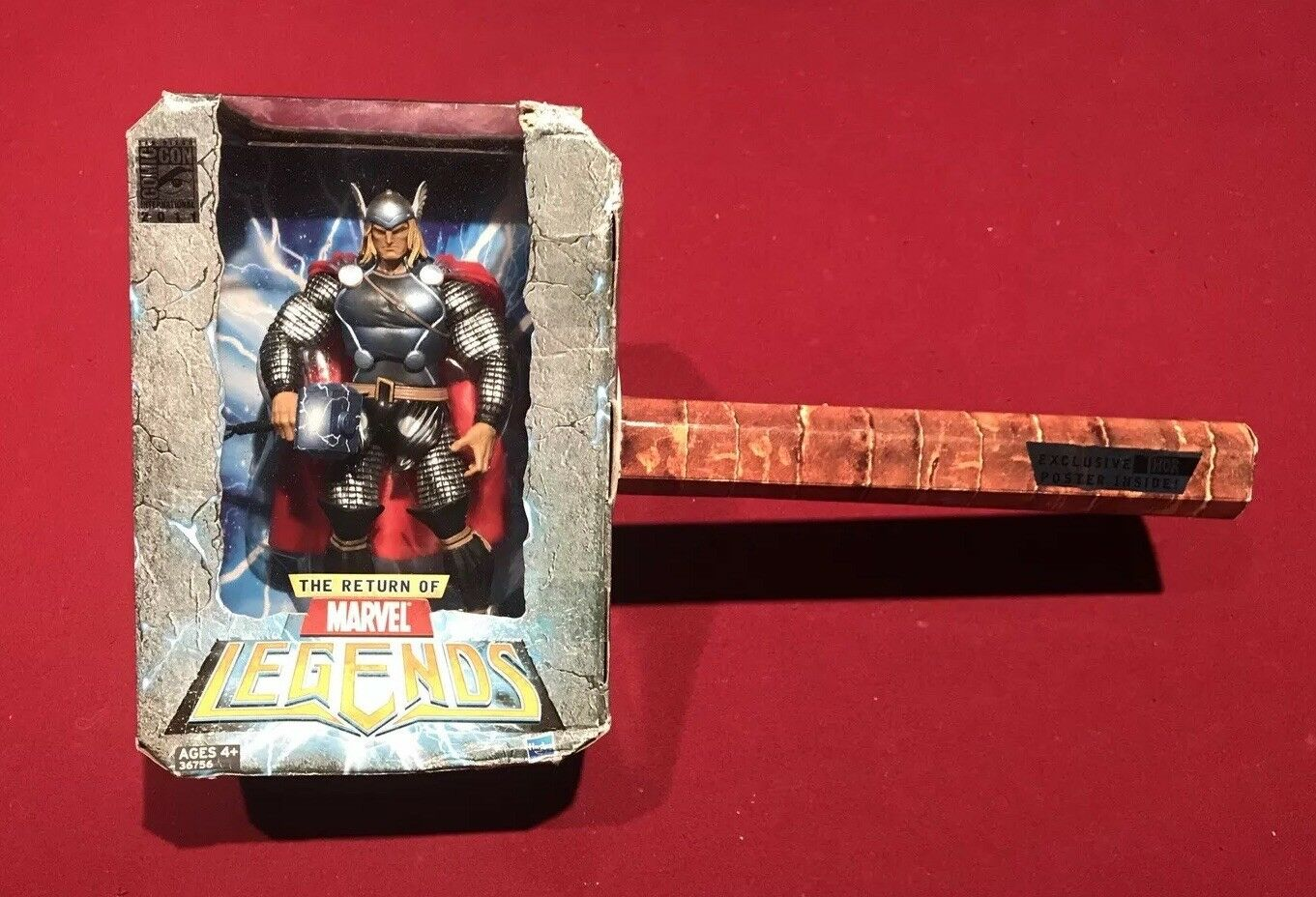 Marvel Legends SDCC EXCLUSIVE  THOR Hammer Mjolnir with Poster Comic Con Exc