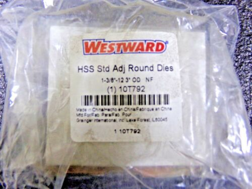 "WESTWARD Round Adjustable Die 1-3//8/""-12 10T792 RC UNF"