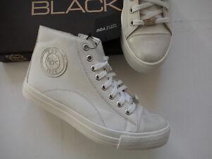 NEU BLACK Sneaker Boot´s echt Leder weiß - silber MADE IN Spain Größe 37 - 42