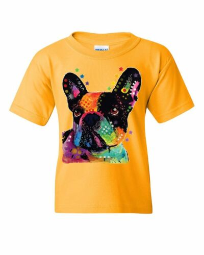French Bulldog Youth T-Shirt Dean Russo Neon Multicolor Art Dog Lovers Kids Tee