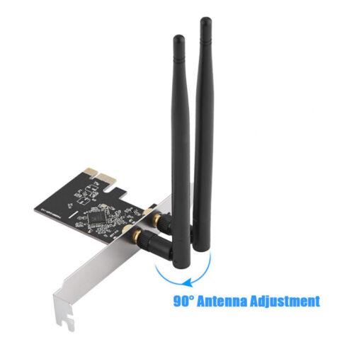 Wireless PCI-E WiFi Card 1300M AC Dual Band Ethernet Network Adapter 2 x Antenna