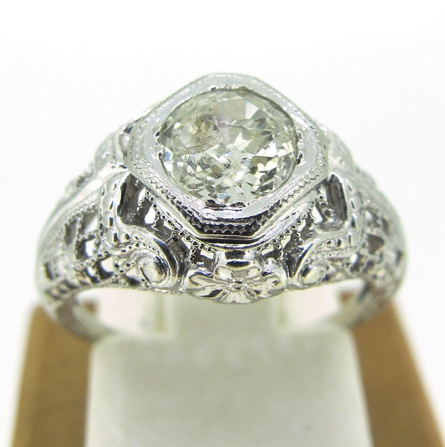 .62 ct Diamond Old European Cut 18k White gold Estate Ring Size 4.25