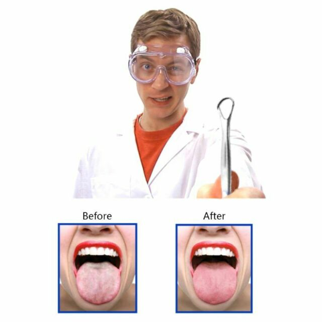 Stainless Steel Tongue Scraper Cleaner Pouch Dental Oral Bacteria Long Handle