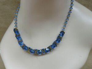 ANTIQUE-ART-DECO-CZECH-BLUE-GLASS-BRIOLETTE-amp-GOLD-WASHED-DISC-CHOKER-NECKLACE