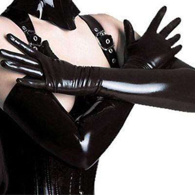 Lungo Nero Guanti In Lattice L Look Bagnato Gotico Fetish Dominatrice Bondage Travestito-mostra Il Titolo Originale Facile E Semplice Da Gestire