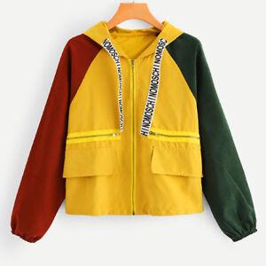 VS-Womens-Ladies-Colour-Block-Windbreaker-Long-Sleeve-Sports-Hooded-Jacket-Coat
