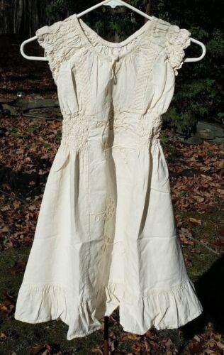 Girls Manta Cotton Dress Mexican Chiapas Natural Cream MT# 22 See Size//Measure