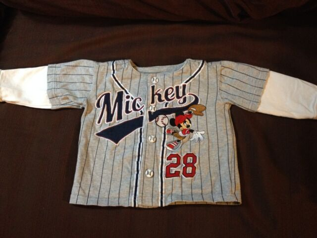 Disney Baby Mickey button up long sleeve striped baseball jersey 18M