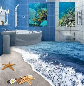ganz seabeach 3d fu boden wandgem lde foto bodenbelag tapete zuhause drucken dek ebay. Black Bedroom Furniture Sets. Home Design Ideas