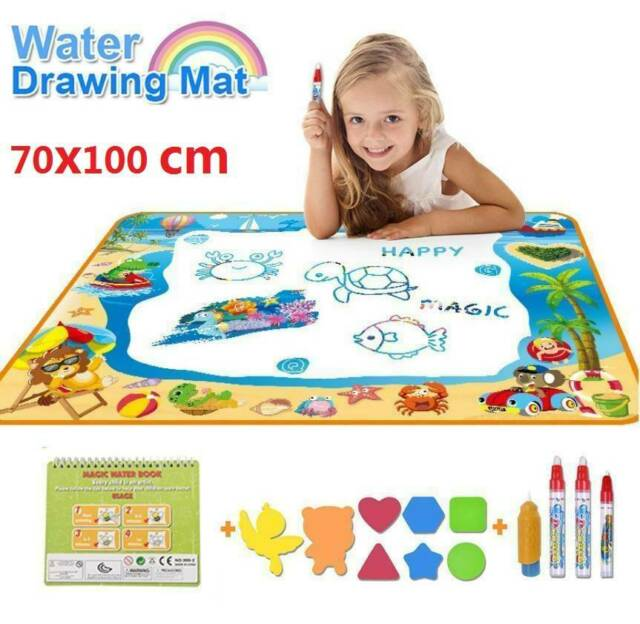Magic Pens Doodle Mat Kids Toy Water Drawing Writing Painting Mat Board Large