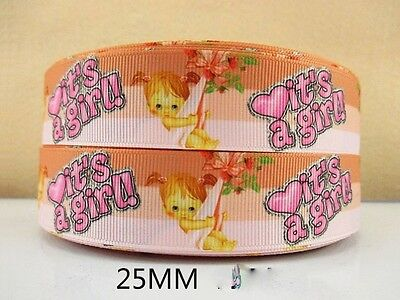 1 METRE IT'S A GIRL NEW BABY RIBBON SIZE INCH BOW HEADBANDS HAIR BIRTHDAY CAKE