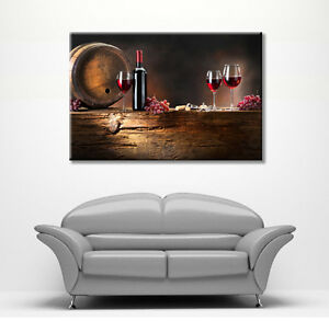 Image Is Loading LARGE FRAMED CANVAS WALL ART PICTURE WINE GLASS
