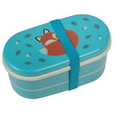 dotcomgiftshop CHILDRENS BLUE BENTO BOX WITH SPOON AND FORK RUSTY THE FOX