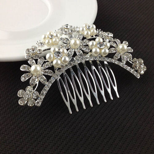 Fashion Silver Rhinestone Crystal Flower Pearls Hair Comb Clip Bridal Jewelry
