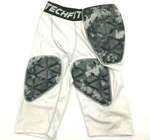 Adidas Techfit Pour Hommes Rembourré Compression Pantalon Blanc 3/4 Jambe Series Quell Summer Soif