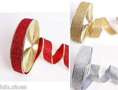 Wired Edged Glitter Ribbon Gold 50mm Wide