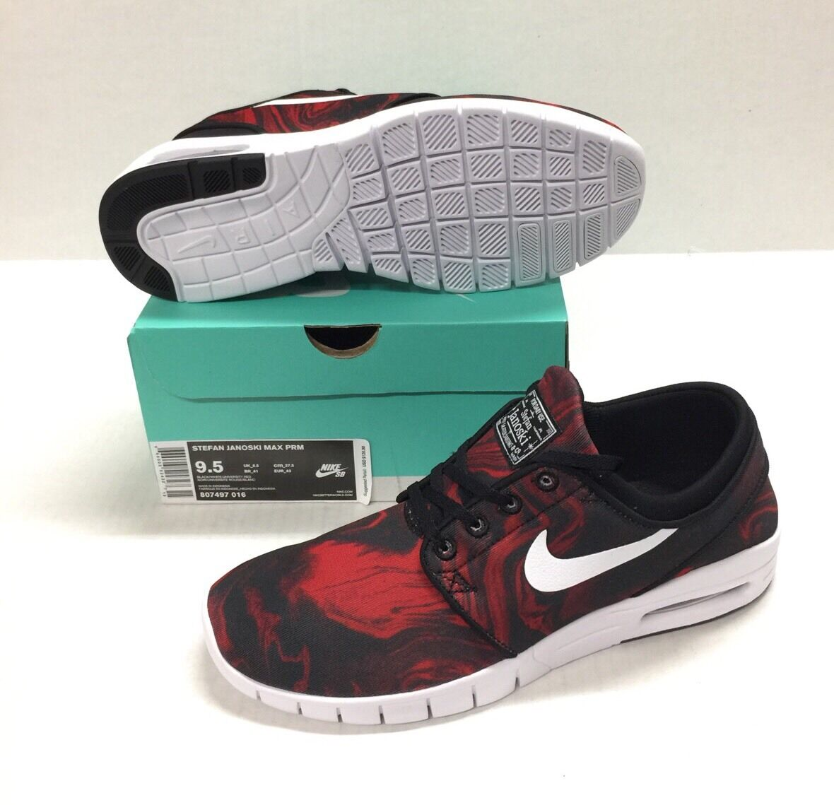 NIKE SB STEFAN JANOSKI MAX PREMIUM BLACK   WHITE - UNIVERSITY RED