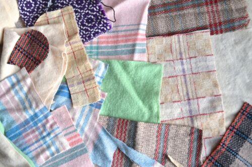 100/% Lana Manta Piezas Bundle Welsh mezcla artesanía Vintage colorida de recortes
