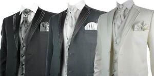 Sur pour Costume Revers Noir Mariage Diamontes de Piece 5 Homme EYqw4agxWq