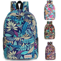 Womens Casual Floral Print Backpack Shoulder School Bag Rucksack Travel Bags