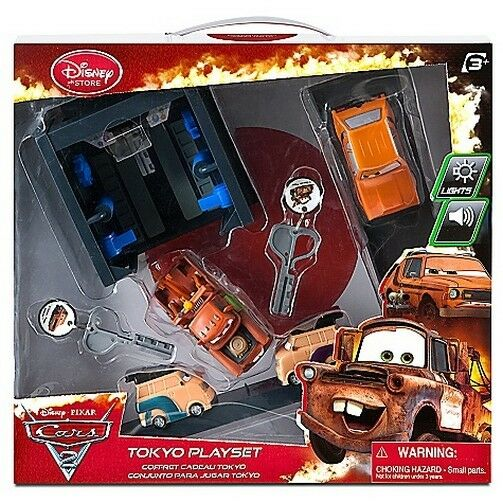 Disney Store Pixar Cars 2 Key Charger Tokyo Toy Launcher Play Set Tow Mater Grem