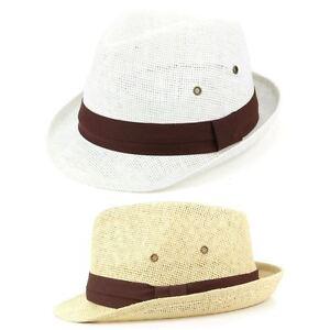 Trilby Hat Straw Fedora Cap Mens Unisex Brim Travel Hawkins BAND ... 128ca1b92179