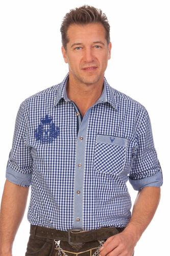 Krüger Herren Trachten Hemd langarm kariert Krempelarm Carlo grün blau Wiesn