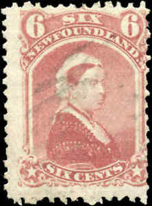Used-Canada-Newfoundland-1870-VG-F-6c-Scott-35-Queen-Victoria-Stamp