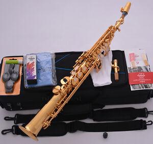 Professional-TAISHAN-Gold-Soprano-Sax-Saxophone-High-F-2-Necks-ALL-Accessories