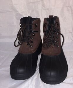 Details about Totes Mens Surface Brown Leather Waterproof Insulated Duck  Boots Size 12 NIB