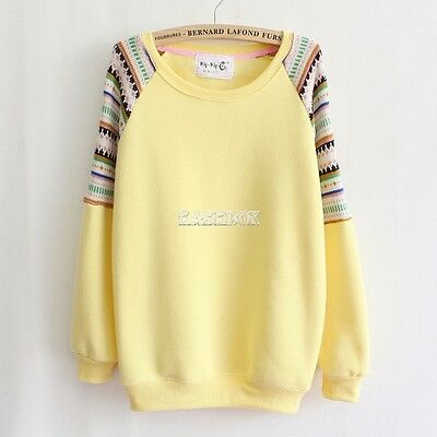 Casual Women Embroidery Knit Pullover Tops Sweatshirt Long Sleeve Hoodies Coat