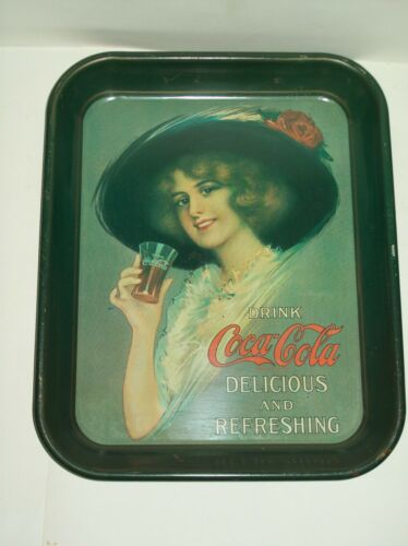 """Vintage"" Coca'Cola Serving Tray Hamilton King Delicious & Refreshing Green"