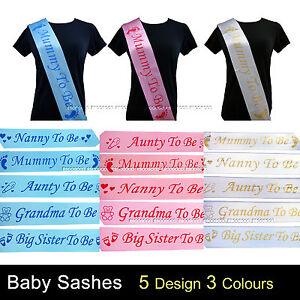 Captivating Image Is Loading BLUE BABY SHOWER SASHES Mummy To Be Nanny