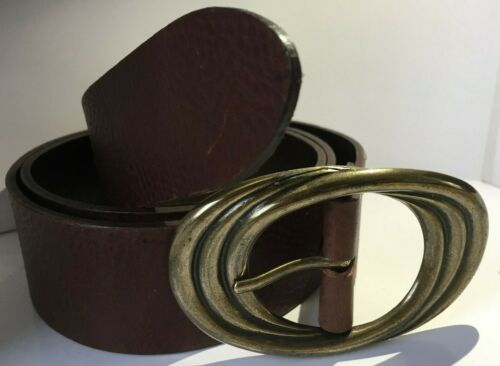 """Vintage Brown Belt with Oval Swirl Antique Brass Buckle Real Leather 1 1//2/"""" WX3"""
