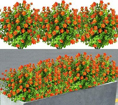 8 Pack Artificial Flowers Fake Plants Outdoor uv Resistant Faux Plastic Plants
