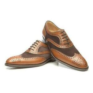 Handgefertigte-zweifarbige-braune-Wildleder-amp-Leder-Oxford-Schuhe-fuer-Herren