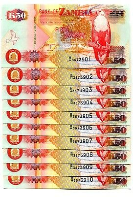 Alert Zambia 50 Kwacha 1992 P-37b Unc Lot 10 Pcs Clear-Cut Texture Coins & Paper Money Africa