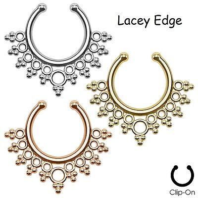 """Fake Septum Ring Non-Pierced UK SELLER Gem Nose Ring Hanger """"Clip On"""" Indian (#2"""