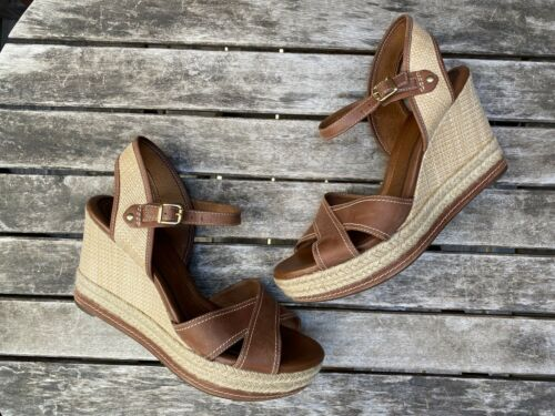 Clarks Amelia Air Wedge platform sandals Cognac Br