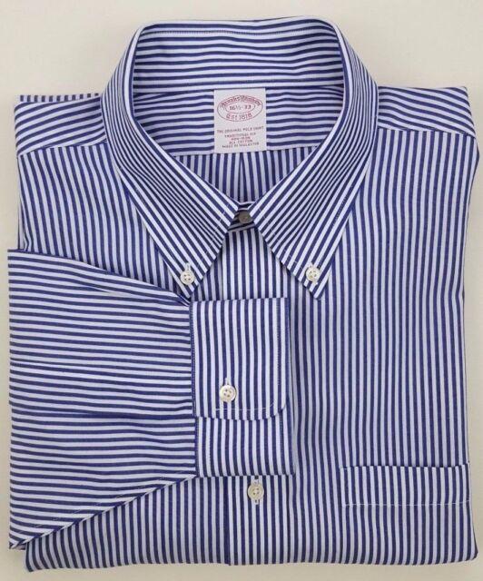 Brooks Brothers Shirt 16.5 33 Striped Blue White Classic Non Iron Cotton Size Sz