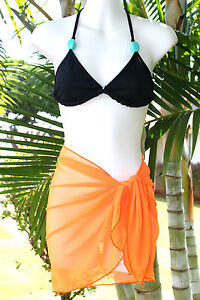 6fed05ed858 Image is loading SOLID-ORANGE-SHORT-MESH-SARONG-PAREO-Beach-Cover-