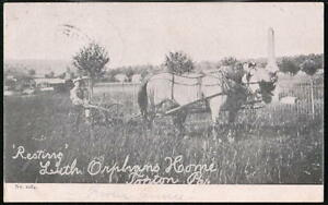 TOPTON-PA-Lutheran-Orphans-Home-Horse-amp-Cart-Resting-Antique-B-amp-W-Postcard-Vtg-PC