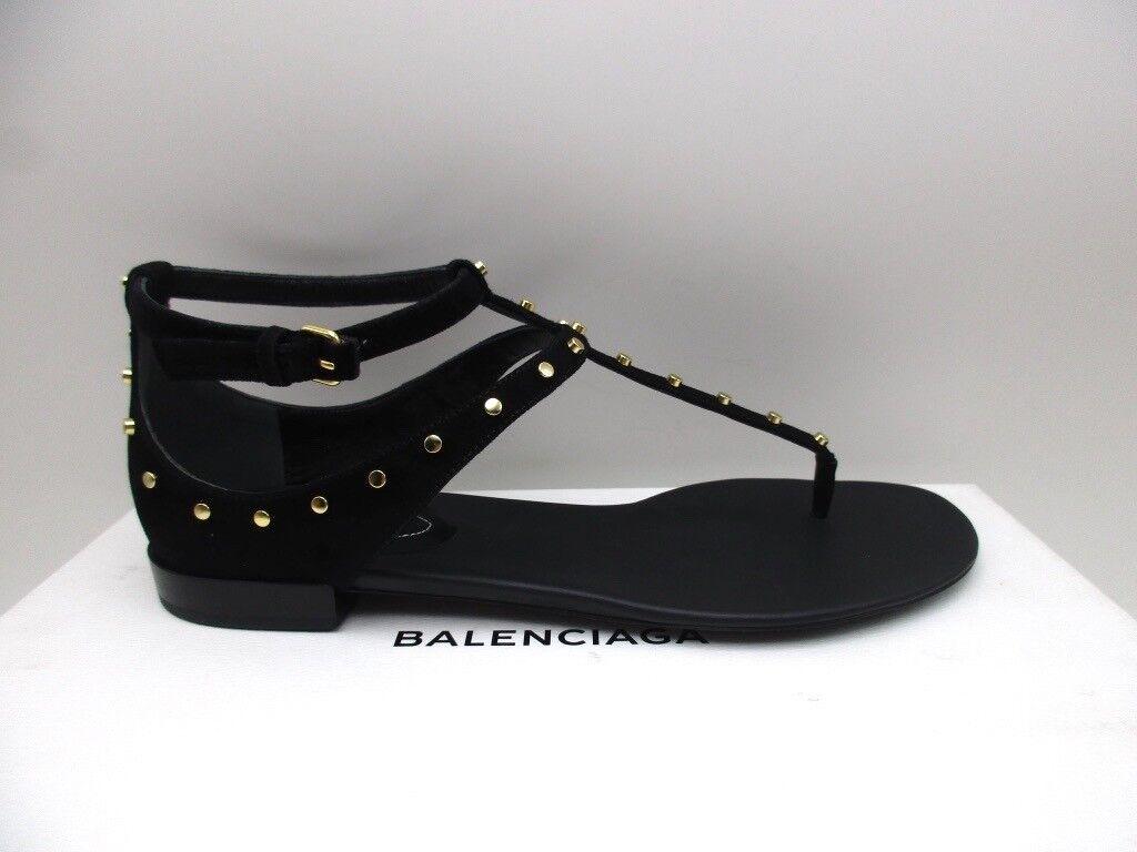 Balenciaga Stunning Arena Gladiator Flat Sandals Black Suede Thong 39 9
