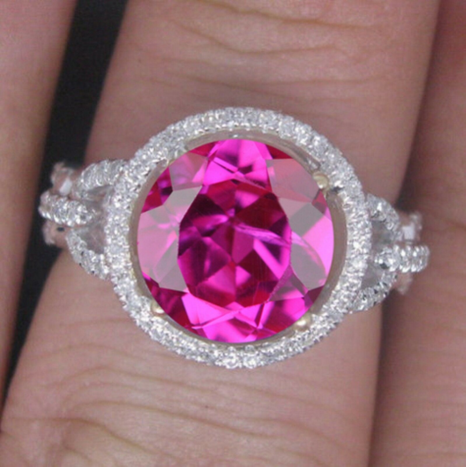 14KT White gold 1.75 Carat Natural Pink Tourmaline EGL Certified Diamond Ring